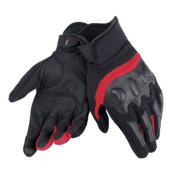 DAINESE Rękawice Tekstylne Unisex Krótkie Air Frame Czarne/Czerwone
