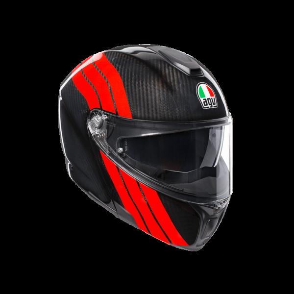 AGV Kask Szczękowy Sportmodular Multi PLK Stripes Carbon/Red
