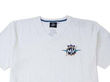 MV AGUSTA T-Shirt V-Neck White Koszulka Męska