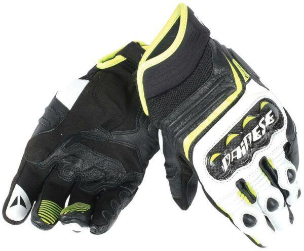 DAINESE Rękawice Skórzane Męskie Krótkie Carbon D1 Black/White/Fluo