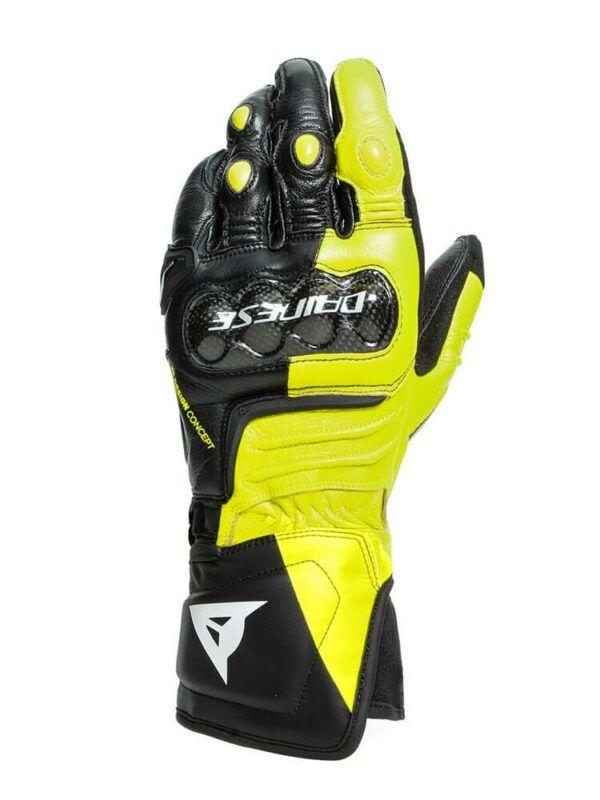DAINESE Rękawice Skórzane Męskie Długie Carbon 3 Black/Fluo